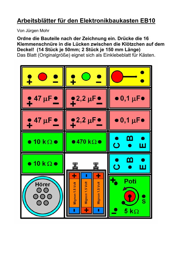 Arbeitsblätter für den Elektronikbaukasten EB10