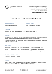 "Vorlesung und Übung ""Marketing Engineering"""