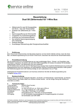 Bauanleitung 1-Wire S0 Dual Zähler - Eservice