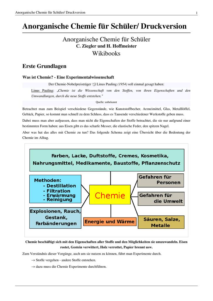 Anorganische Chemie für Schüler/ Druckversion