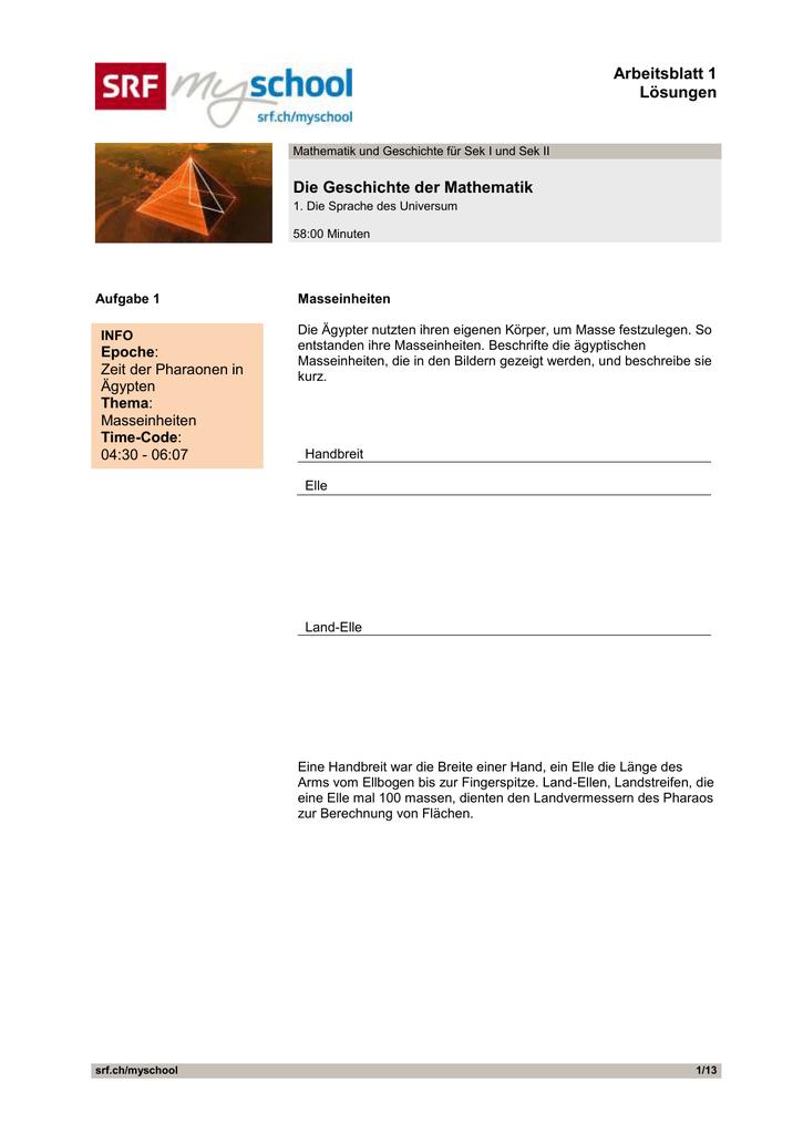 Die Geschichte der Mathematik, Folge 1, Arbeitsblatt 1