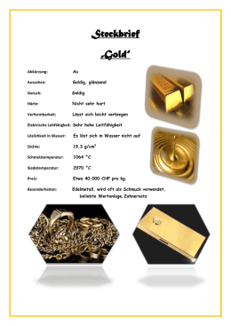 "Steckbrief ""Gold"""