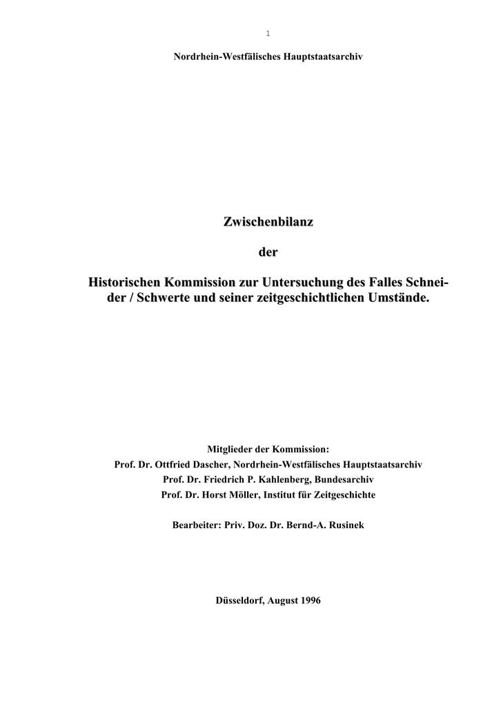 Schneider-Schwerte-Gutachten für die Landesregierung NRW