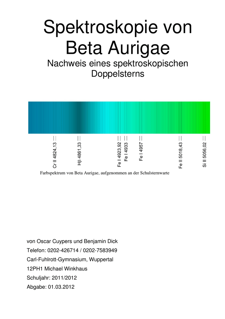 Spektroskopie von Beta Aurigae