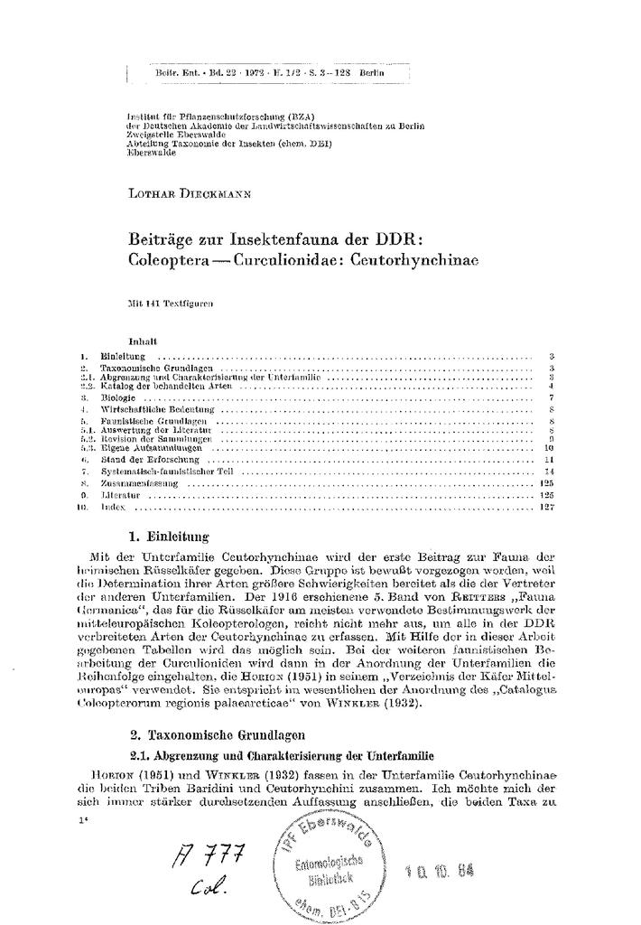 Beiträge zur Insektenfauna der DDR: Coleoptera — Curculionidae
