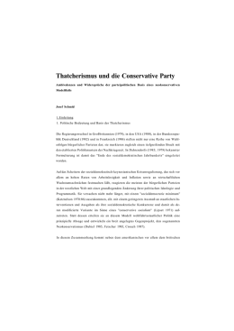 Thatcherismus und die Conservative Party