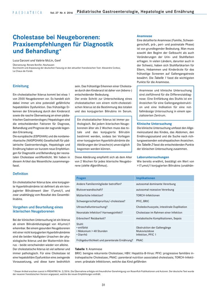 Cholestase Bei Neugeborenen Praxisempfehlungen Für Diagnostik