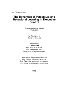 The Dynamics of Perceptual and Behavioral - ETH E