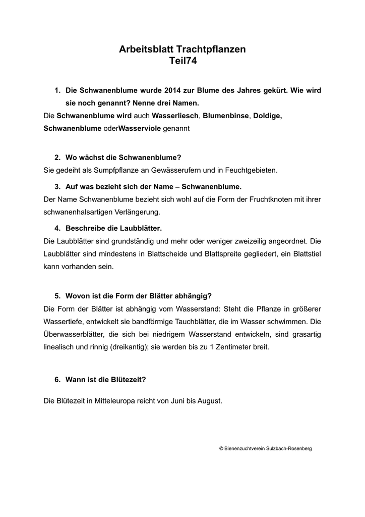 Arbeitsblatt Trachtpflanzen - Bienenzuchtverein Sulzbach