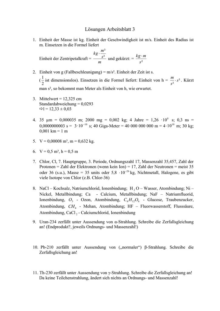 Arbeitsblatt zur Mechanik 1