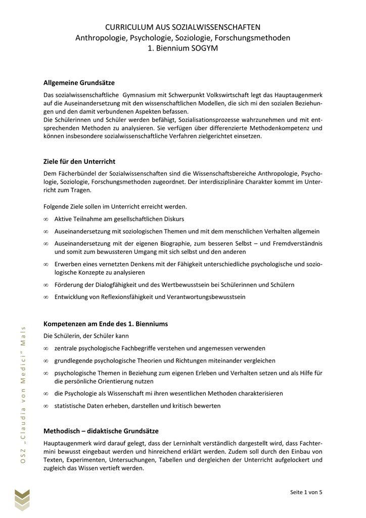 Sozialwissenschaften - Oberschulzentrum Mals