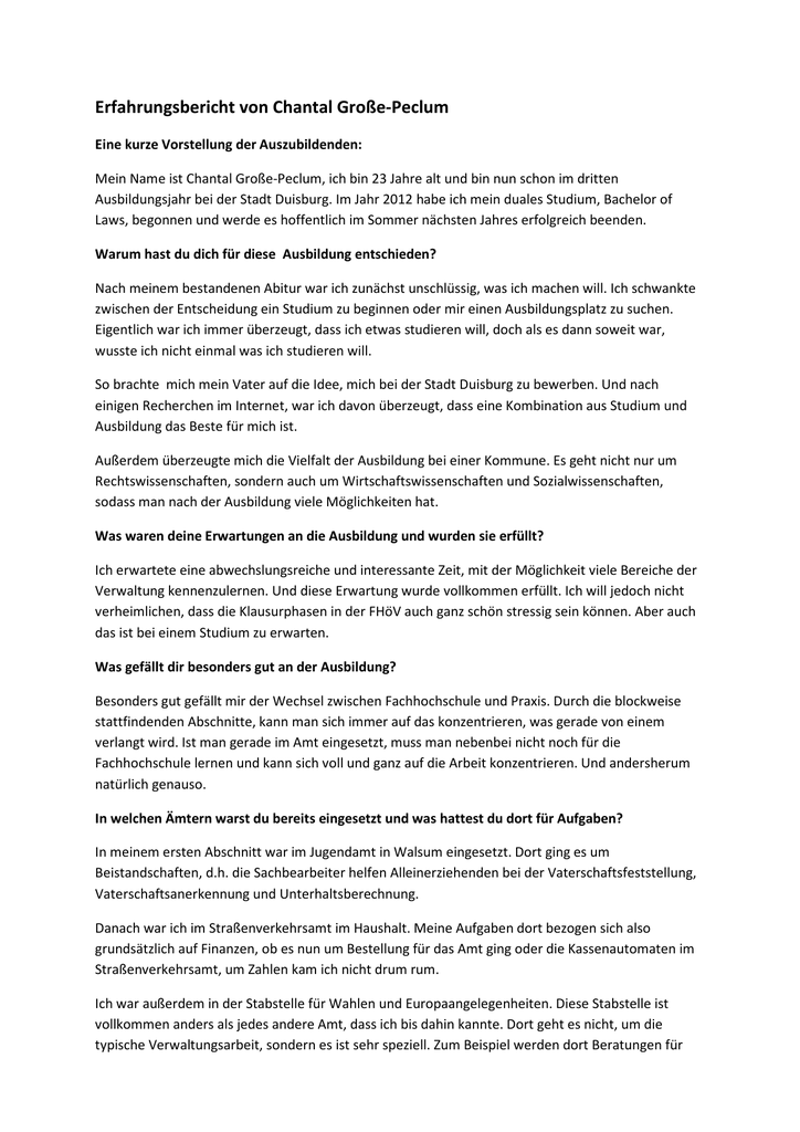 Erfahrungsbericht Von Chantal Grosse