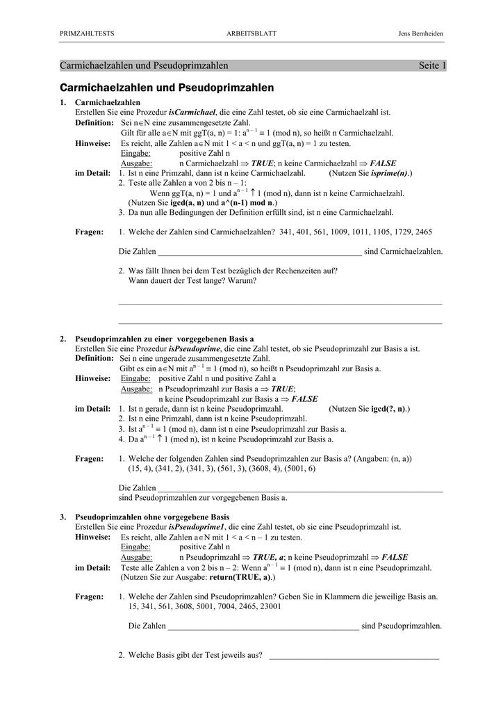 Carmichaelzahlen und Pseudoprimzahlen - Mathe
