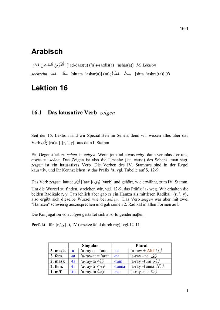 Arabisch Lektion 16 - instructioneducation.info