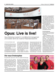 Live is live! - OPUS Marketing GmbH