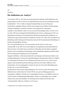 Die Indikation zur Analyse