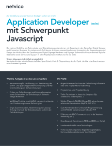 Application Developer (w/m) mit Schwerpunkt Javascript
