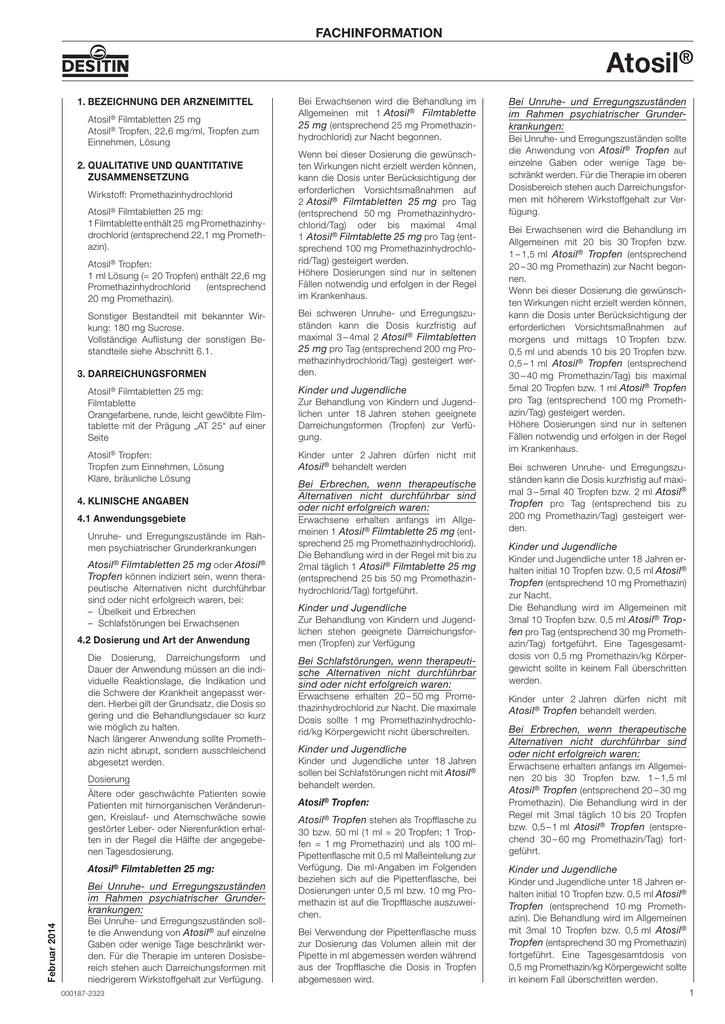 ATOSIL TROPFEN BEIPACKZETTEL PDF