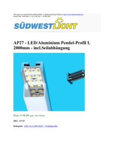 AP27 - LED/Aluminium Pendel-Profil L 2000mm - incl