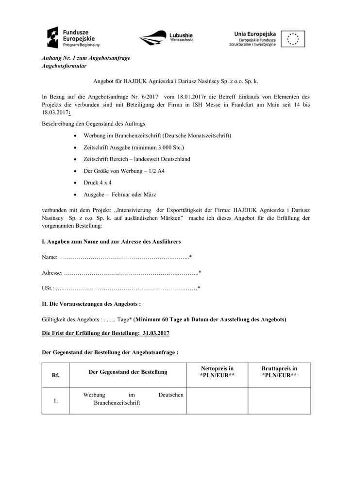 Anhang Nr 1 Zum Angebotsanfrage Angebotsformular Angebot Für