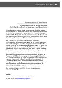 Presseinformation vom 9. November 2016 Studieninformationstag