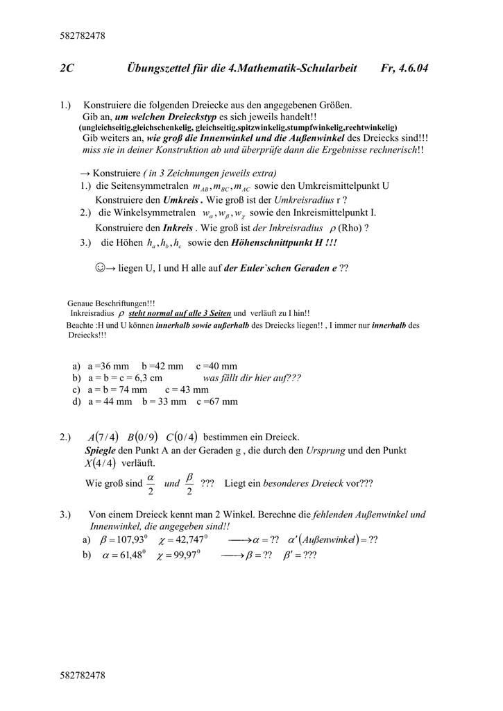 Niedlich Dreiecksungleichung Satz Arbeitsblatt Zeitgenössisch ...