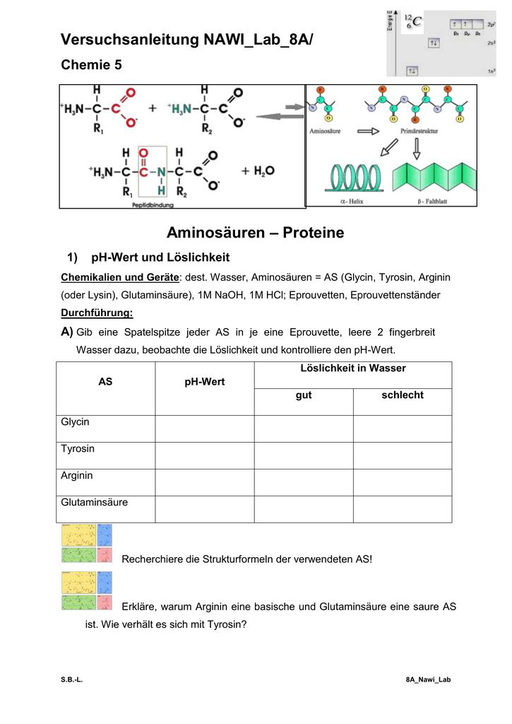 versuchsanleitung nawi lab 8a chemie 5 aminos uren. Black Bedroom Furniture Sets. Home Design Ideas
