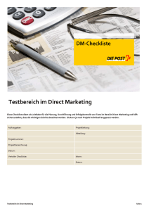 Testbereich im Direct Marketing