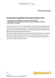 Continental vergrößert International Sales Team
