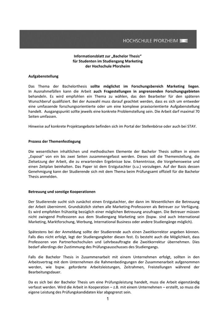 thesis anmeldung hs pforzheim