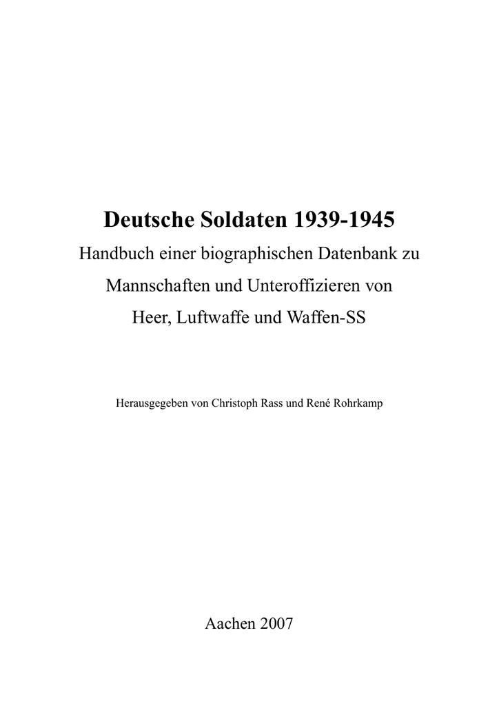 Deutsche Soldaten 1939-1945 - RWTH