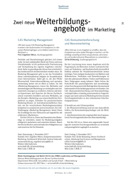Neue Angebote im Marketing: CAS Marketing Management und