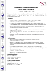 Leiter Application Management und Produkt Marketing (m/w)
