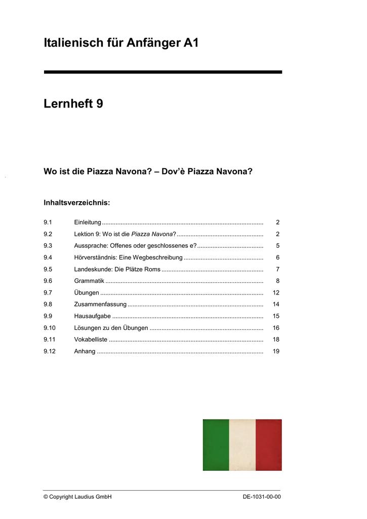 Italienisch Für Anfänger A1 Lernheft 9