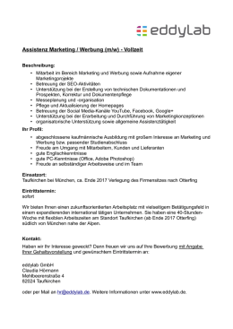 Assistenz Marketing / Werbung (m/w)