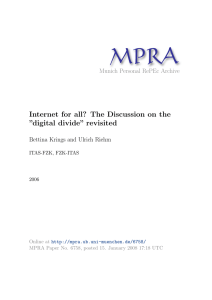 "Internet for all? The Discussion on the ""digital divide"" revisited"