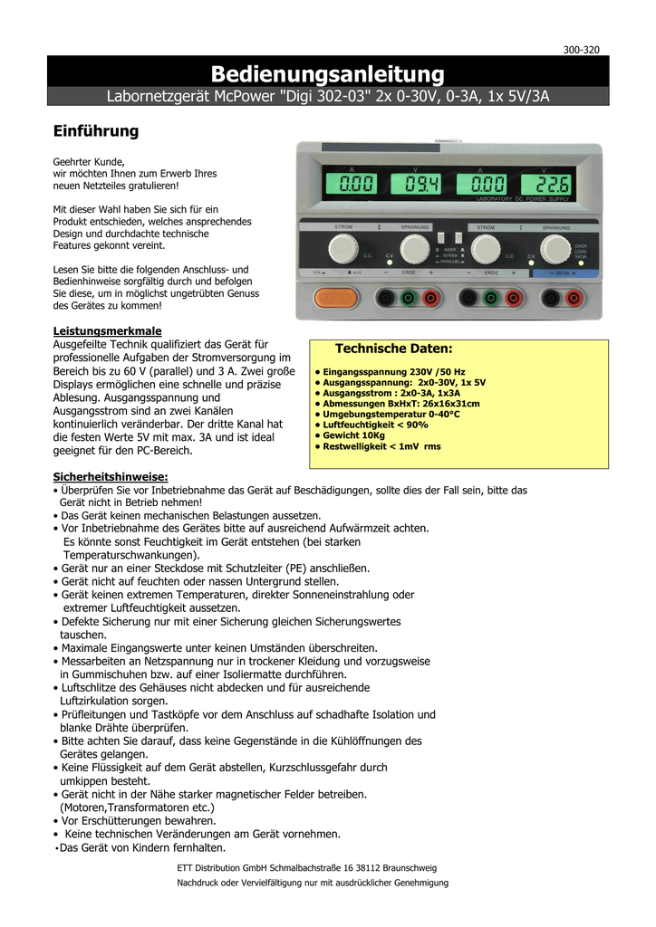 Labornetzgerät McPower Digi 302-03 2x 0-30V 0-3A 1x 5V//3A