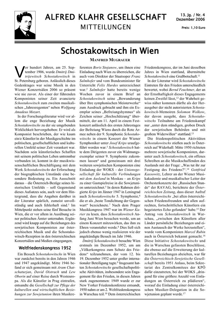Schostakowitsch in Wien - Alfred Klahr Gesellschaft