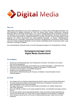 Kampagnenmanager (m/w) - Digital Media Deutschland GmbH