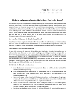 Big Data - Prodinger Tourismusberatung