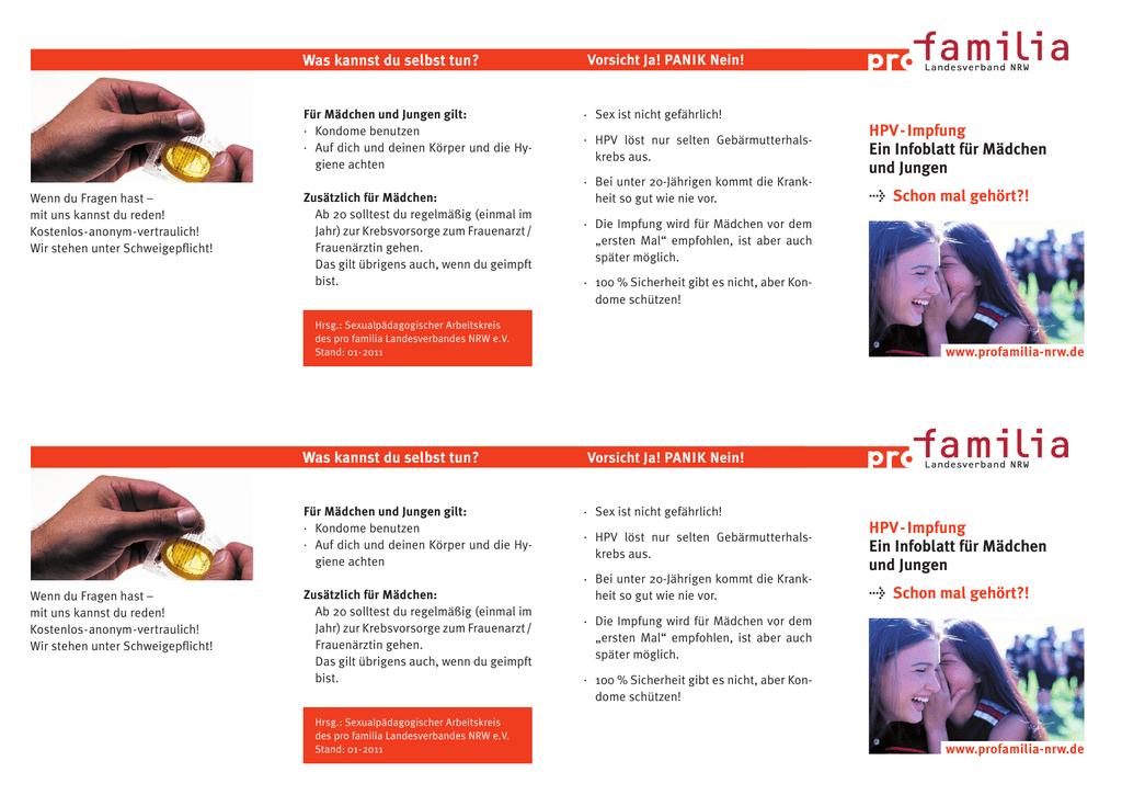 Hpv Impfung Ein Infoblatt Für Mädchen Und Jungen Schon Mal