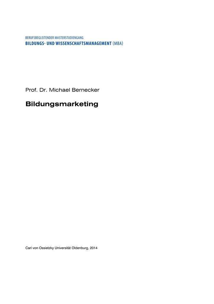 Bildungsmarketing - Master Bildungs