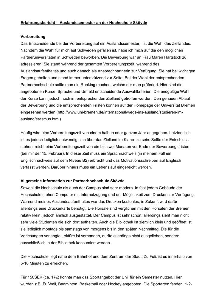 Erfahrungsbericht Auslandssemester An Der Hochschule Skovde