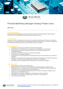 Produkt Marketing Manager Analog/ Power (m/w)