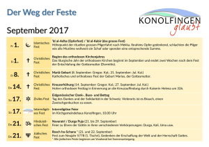 September 2017 Der Weg der Feste
