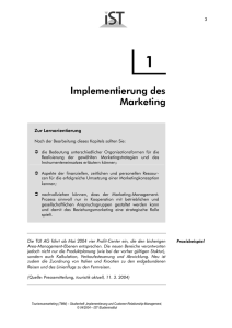 Implementierung des Marketing - IST