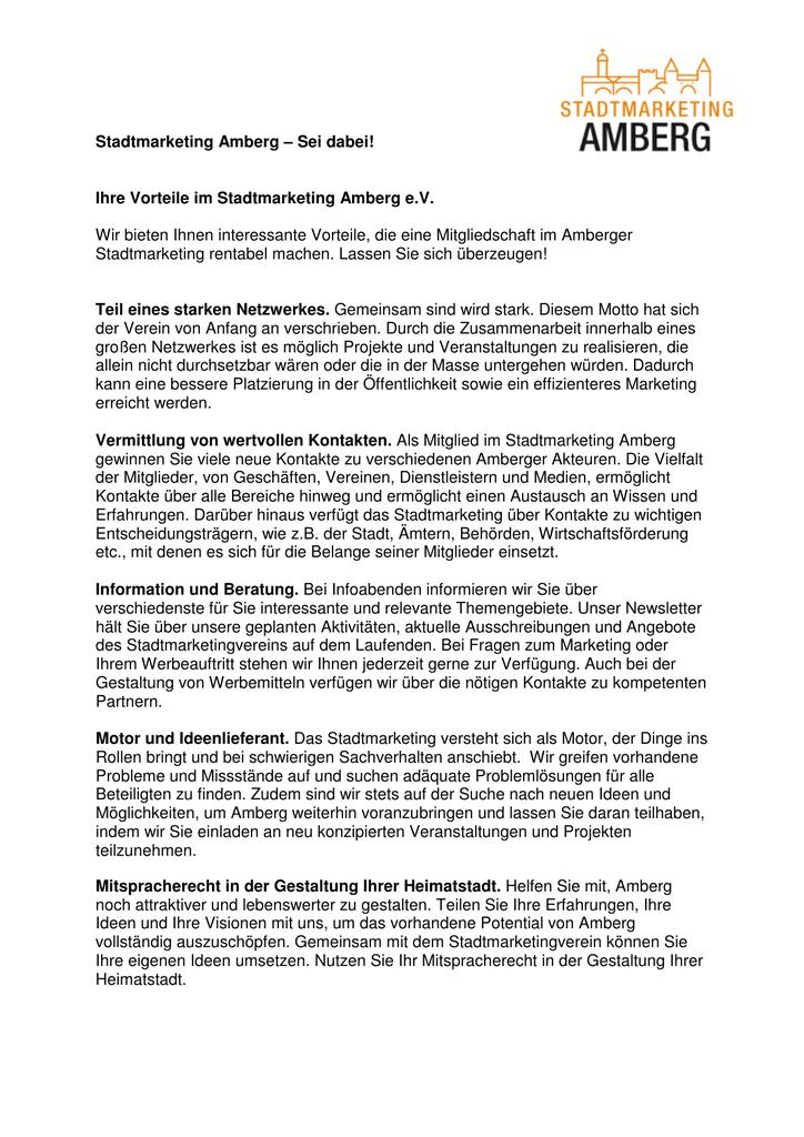 mitgliedervorteile - stadtmarketing amberg  studylibde.com