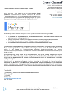 15.08.2016: Cross4Channel ist zertifizierter Google Partner!