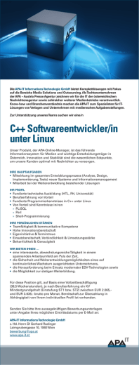 C++ Softwareentwickler/in unter Linux