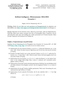 Artificial Intelligence, Wintersemester 2014/2015